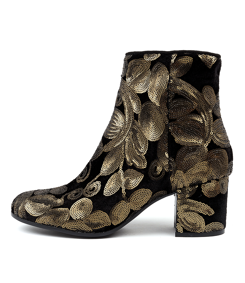 Buy I Love Billy Nyasia Old Gold Sequin Ankle Boots online with free shipping