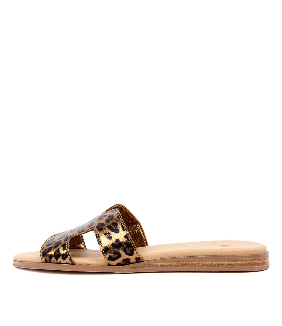 Buy I Love Billy Onest Il Bronze Ocelot Flat Sandals online with free shipping