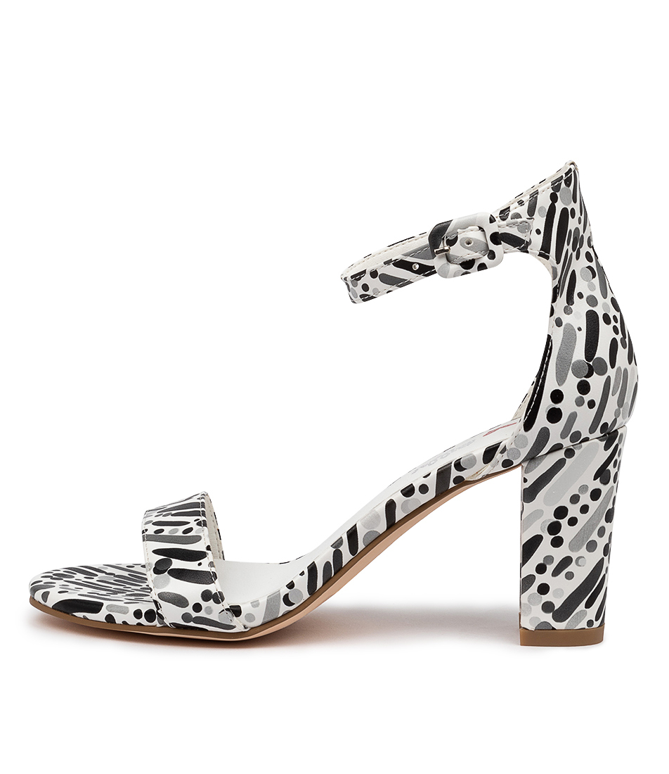 Buy I Love Billy Gampi Il White & Black Carnival Heeled Sandals online with free shipping