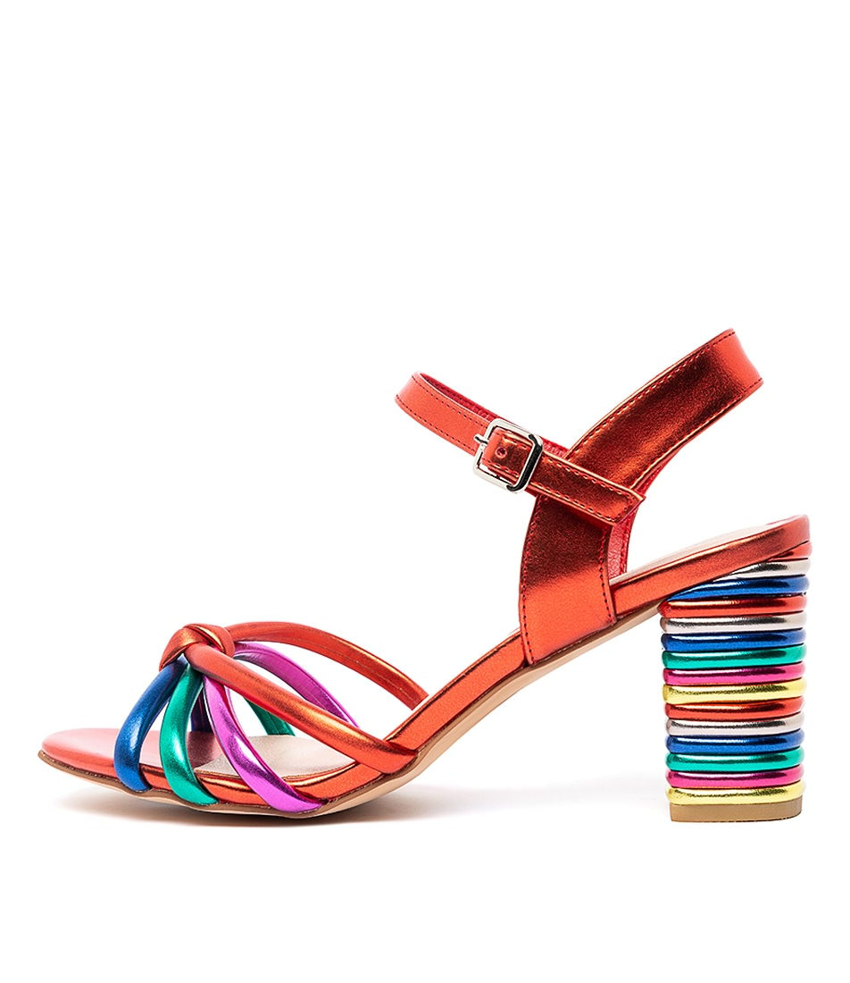 Buy I Love Billy Niftie Il Red Metallic Multi Heeled Sandals online with free shipping