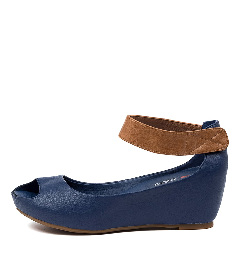 Buy I Love Billy Tappa Il Dk Blue Tan Heeled Sandals online with free shipping