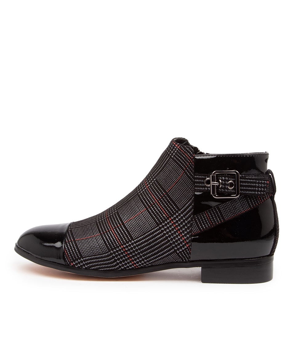 Buy I Love Billy Rita Il Black Grey Print Check Ankle Boots online with free shipping