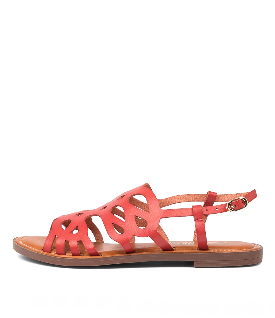 Buy I Love Billy Earlville Il Red Flat Sandals online with free shipping