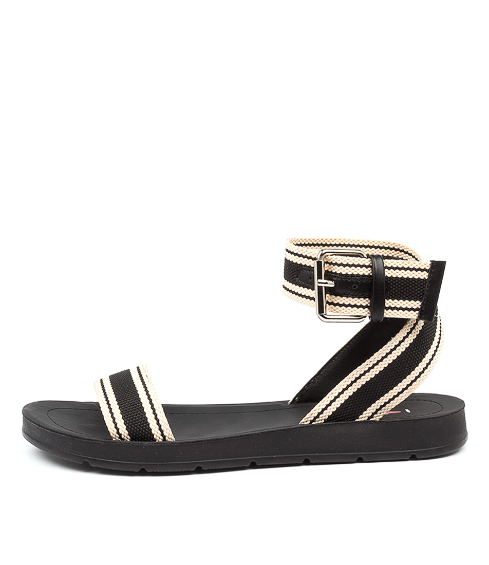 Buy I Love Billy Midland Il Black & Natural Stripe Flat Sandals online with free shipping