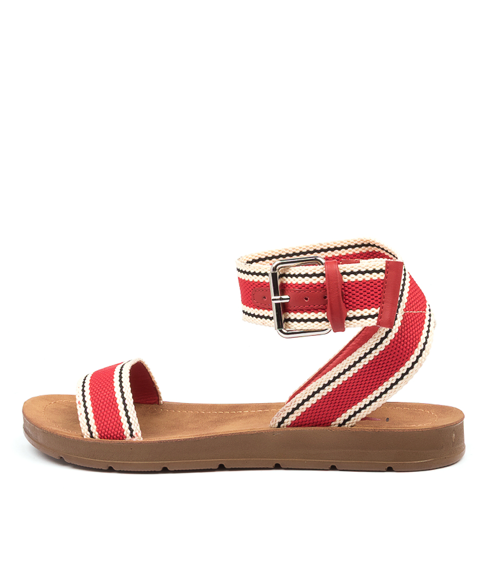 Buy I Love Billy Midland Il Red & Natural Stripe Flat Sandals online with free shipping