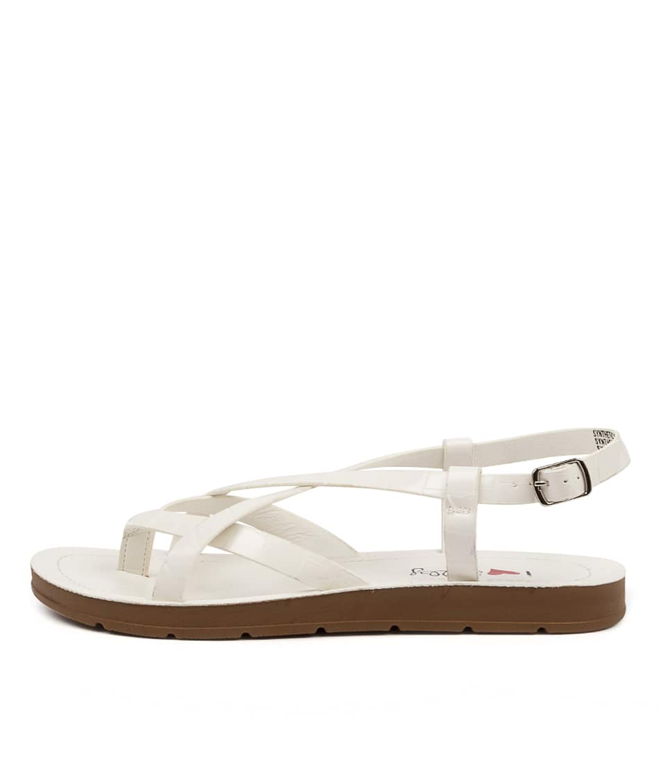 Buy I Love Billy Mighty Il White Croc Flat Sandals online with free shipping