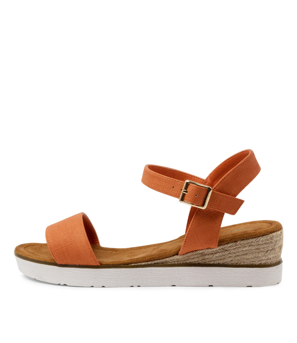 Buy I Love Billy Oumia Il Orange Stamp Heeled Sandals online with free shipping