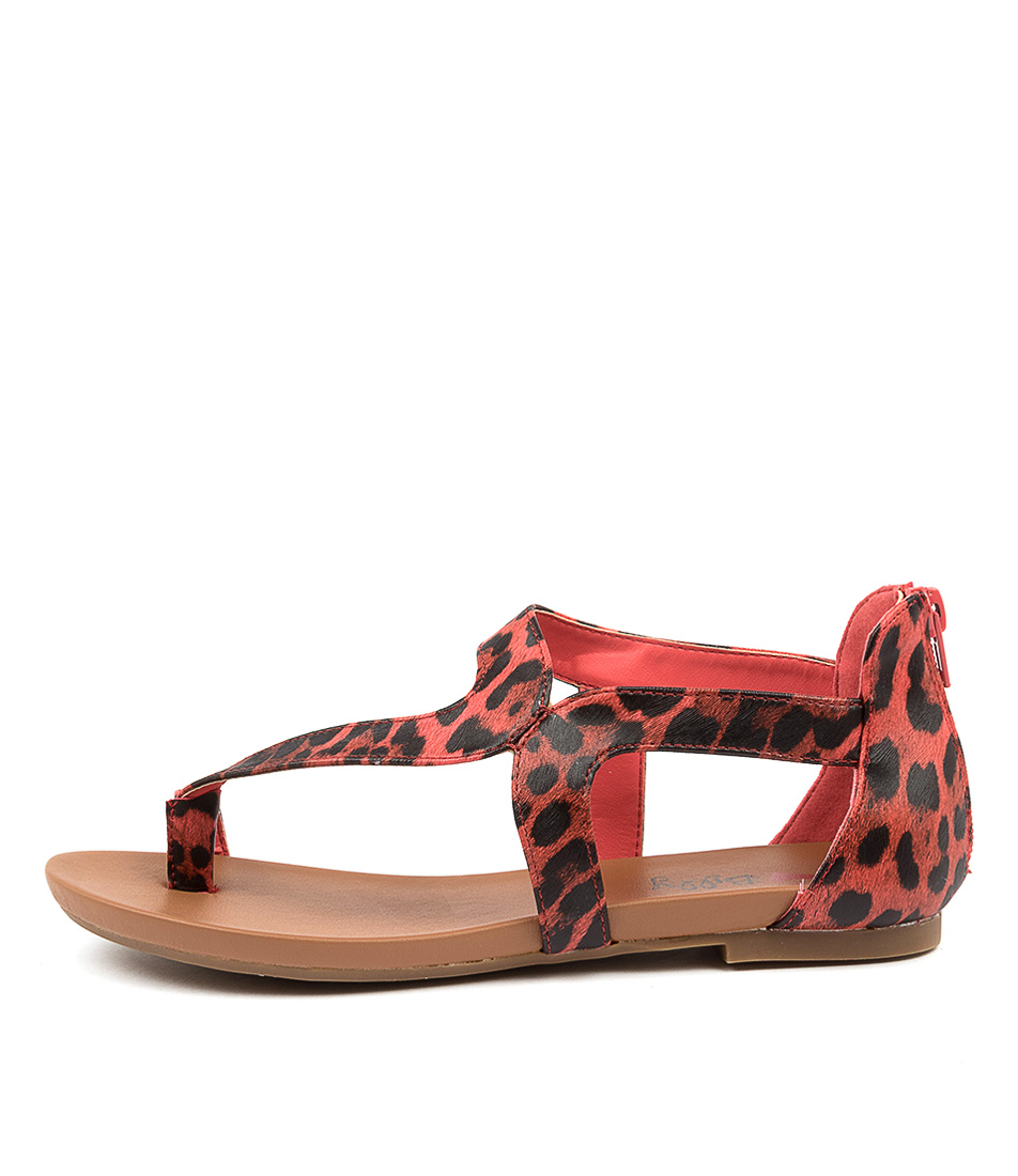 Buy I Love Billy Sandee Il Coral Leopard Flat Sandals online with free shipping