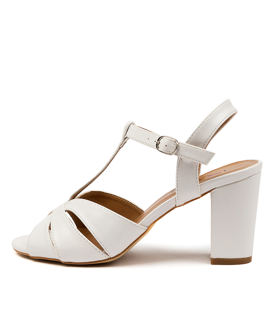 Buy I Love Billy Teatree Il White White Reptile Heeled Sandals online with free shipping