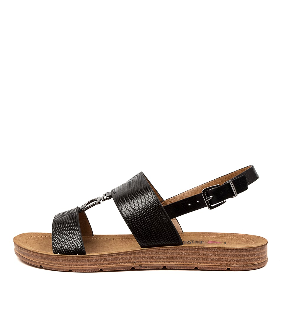 Buy I Love Billy Morley Il Black Reptile Black Flat Sandals online with free shipping
