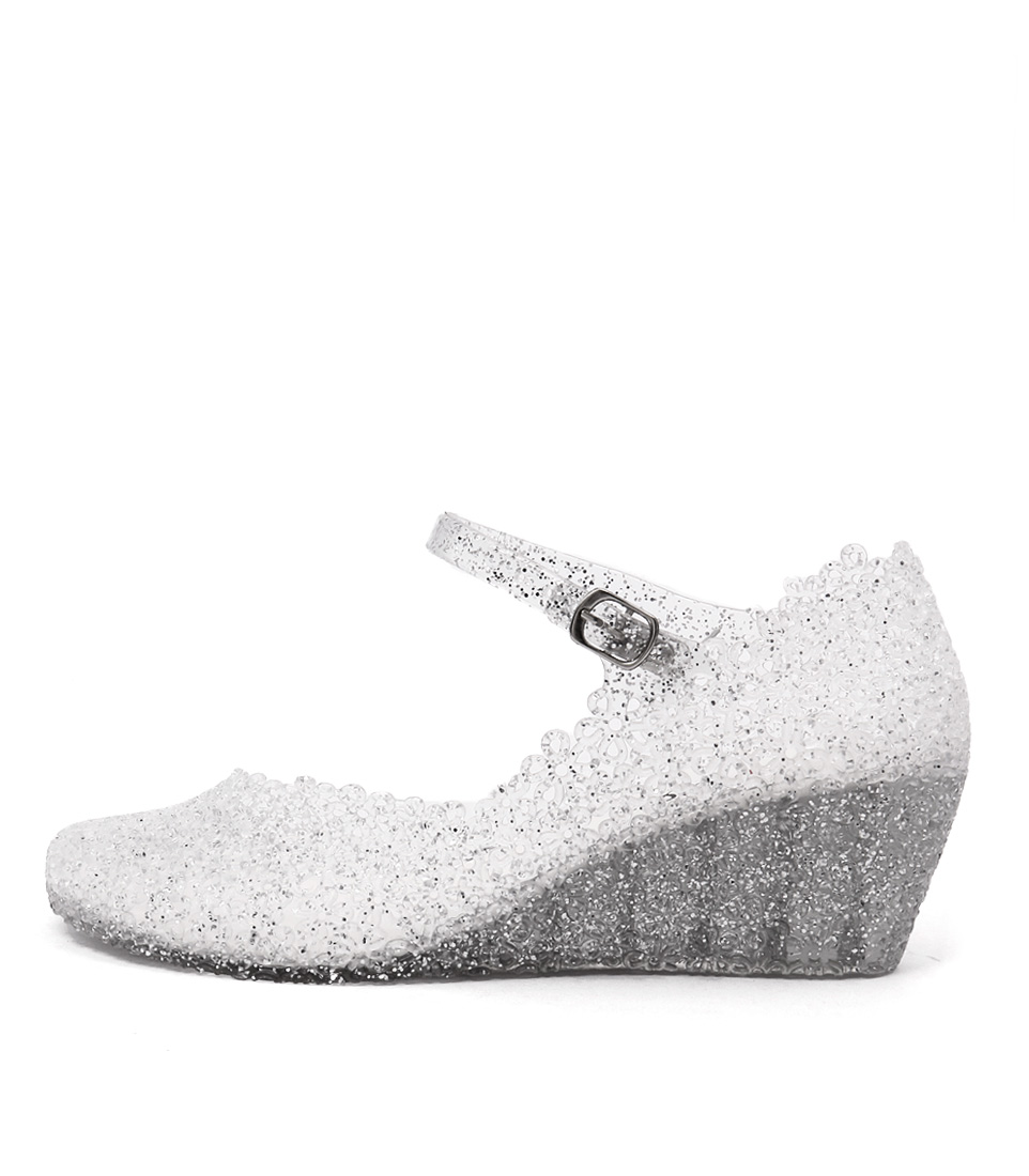 I Love Billy Jellies Silver Glitter High Heels Shoes