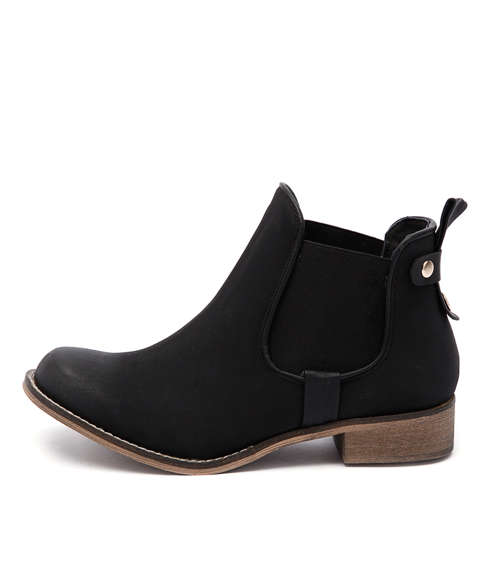 I Love Billy Saunders Black Ankle Boots