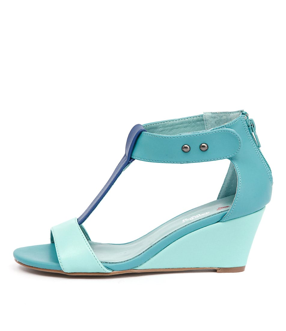 I Love Billy Bazzy Aqua Cobalt Jad Casual Heeled Sandals