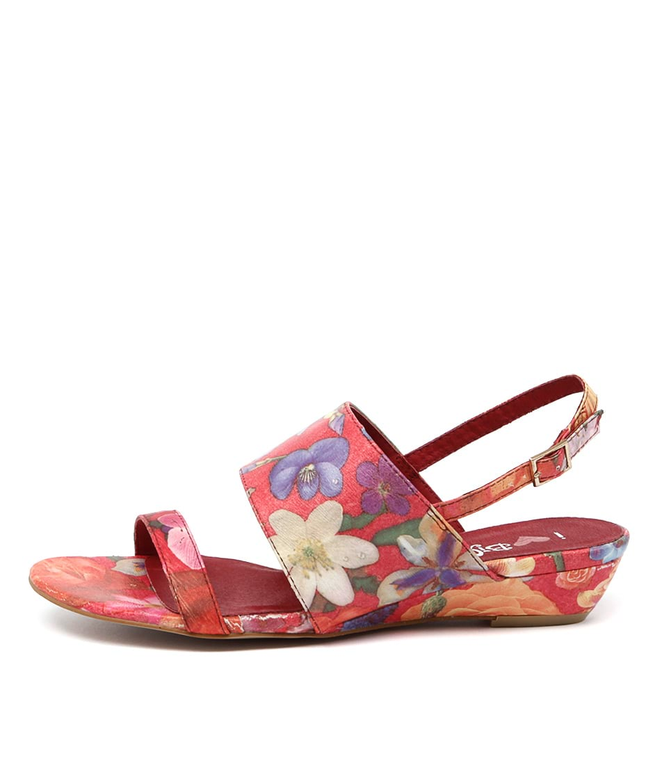 I Love Billy Makey Red Floral Sandals