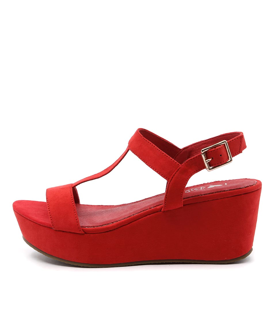 I Love Billy Grace Red Casual Heeled Sandals