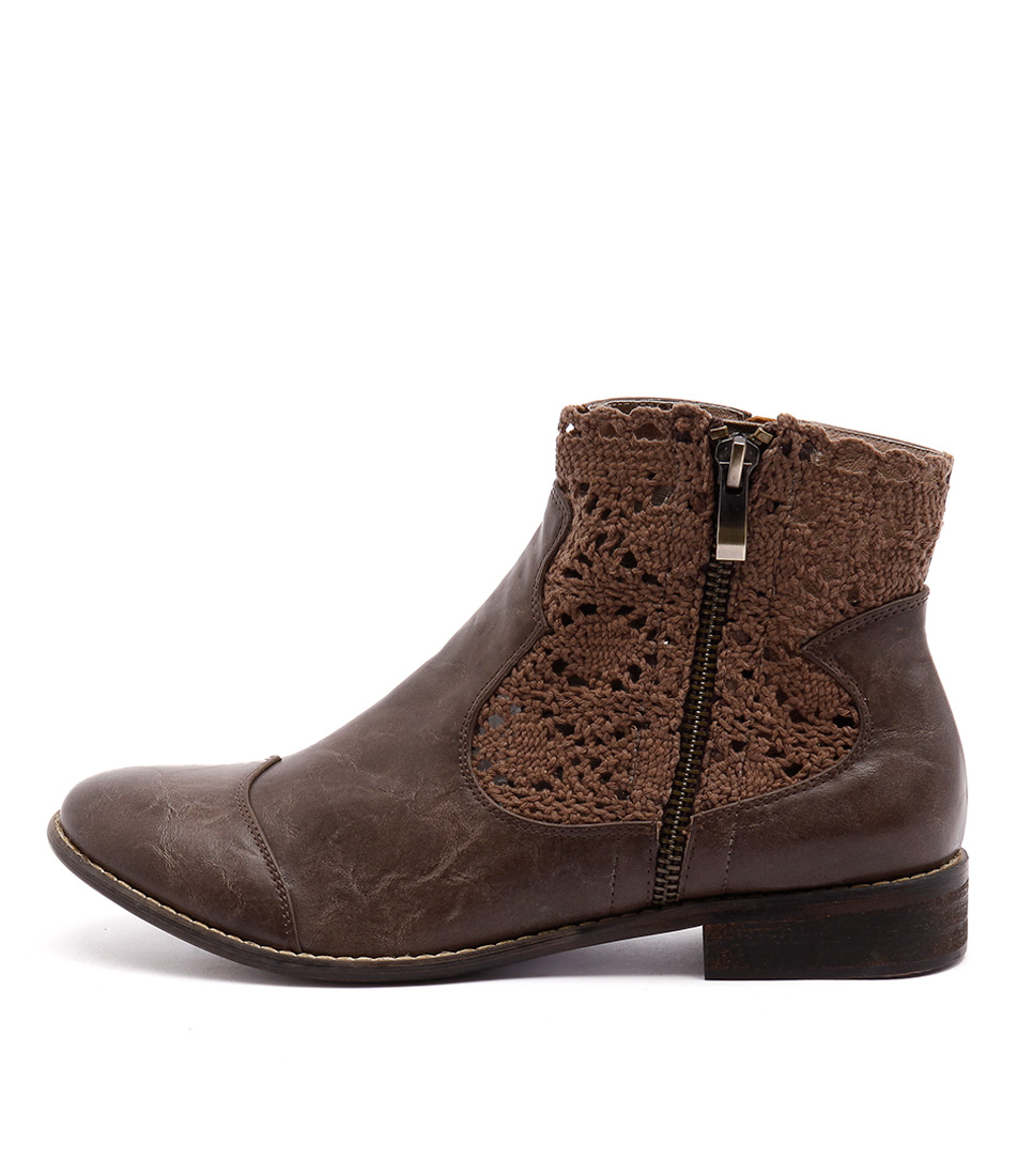 I Love Billy Flutter Chocolate Ankle Boots