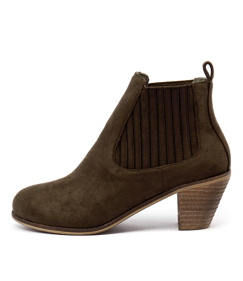 I Love Billy Riptide Khaki Ankle Boots