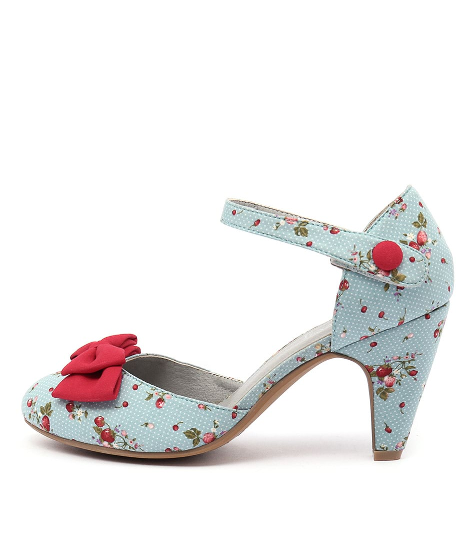 I Love Billy Annie Blue Spot Red Heeled Shoes