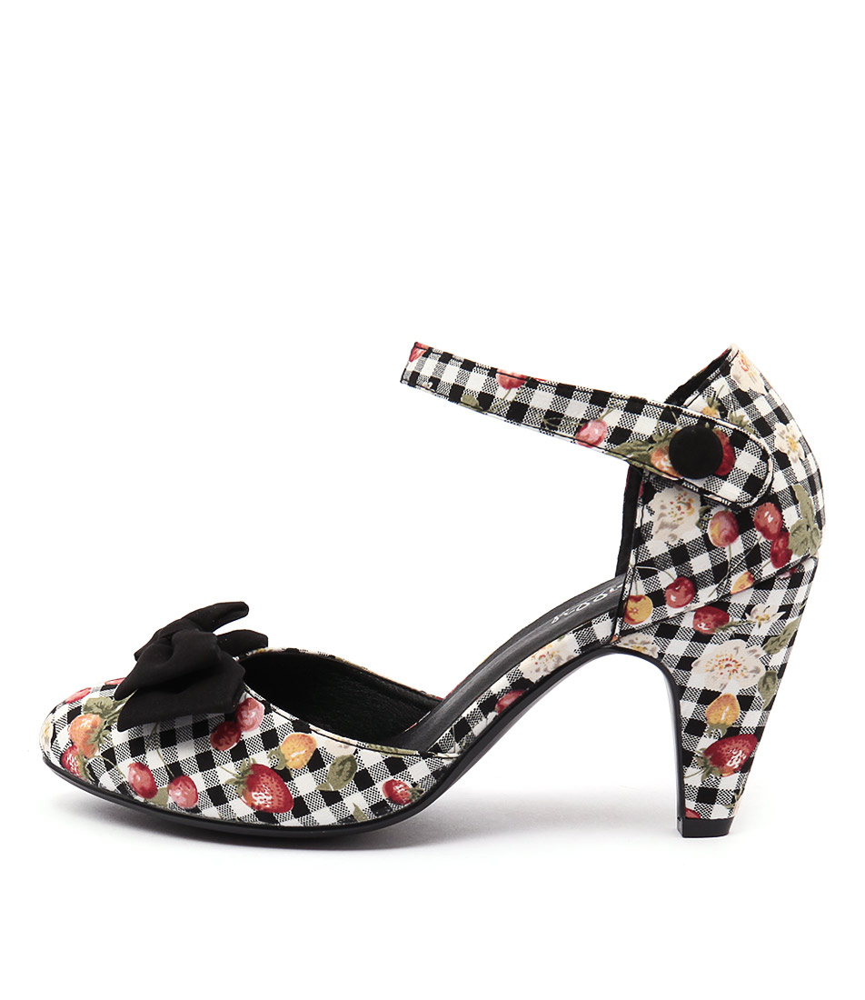 I Love Billy Annie Black Gingham Print Black Casual Heeled Shoes