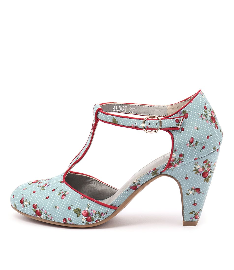 I Love Billy Albot Blue Spot Print Red  Heels