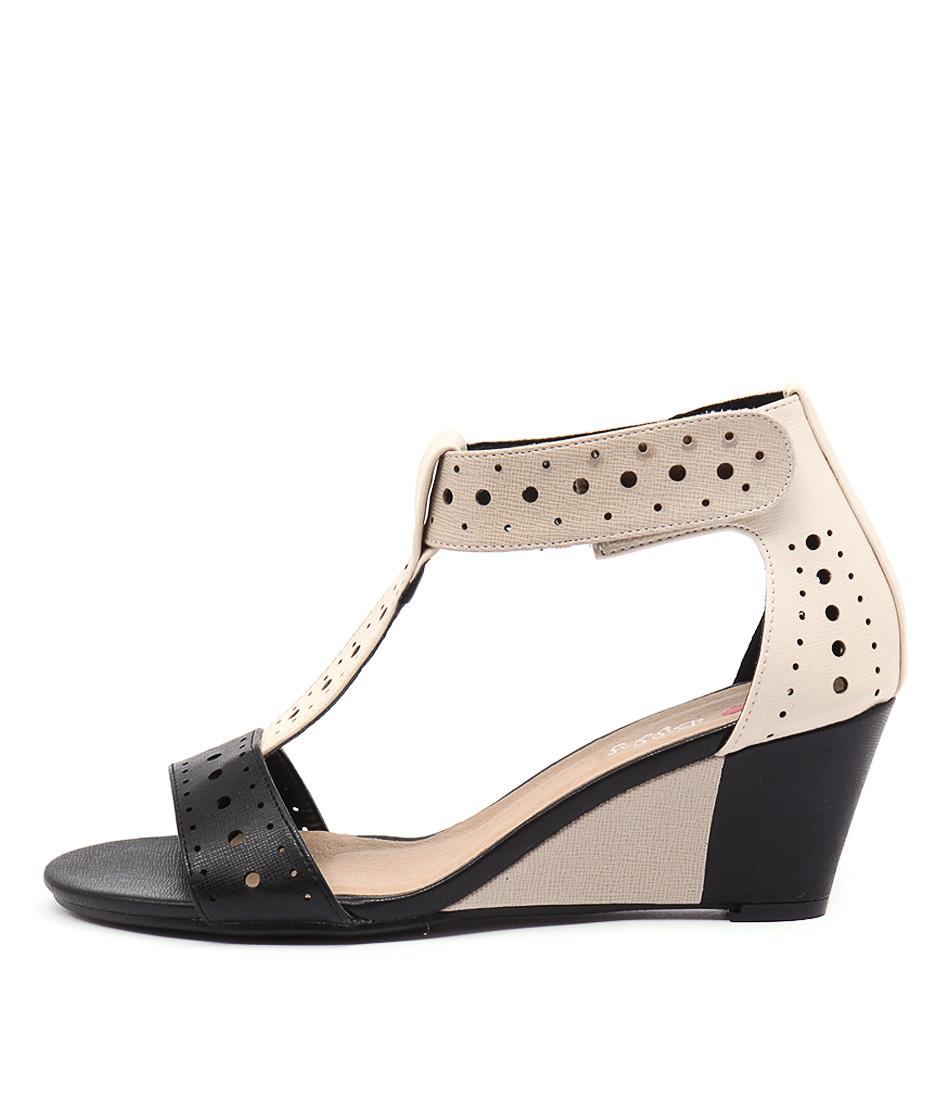 I Love Billy Blanche Black & Beige Multi Heeled Sandals