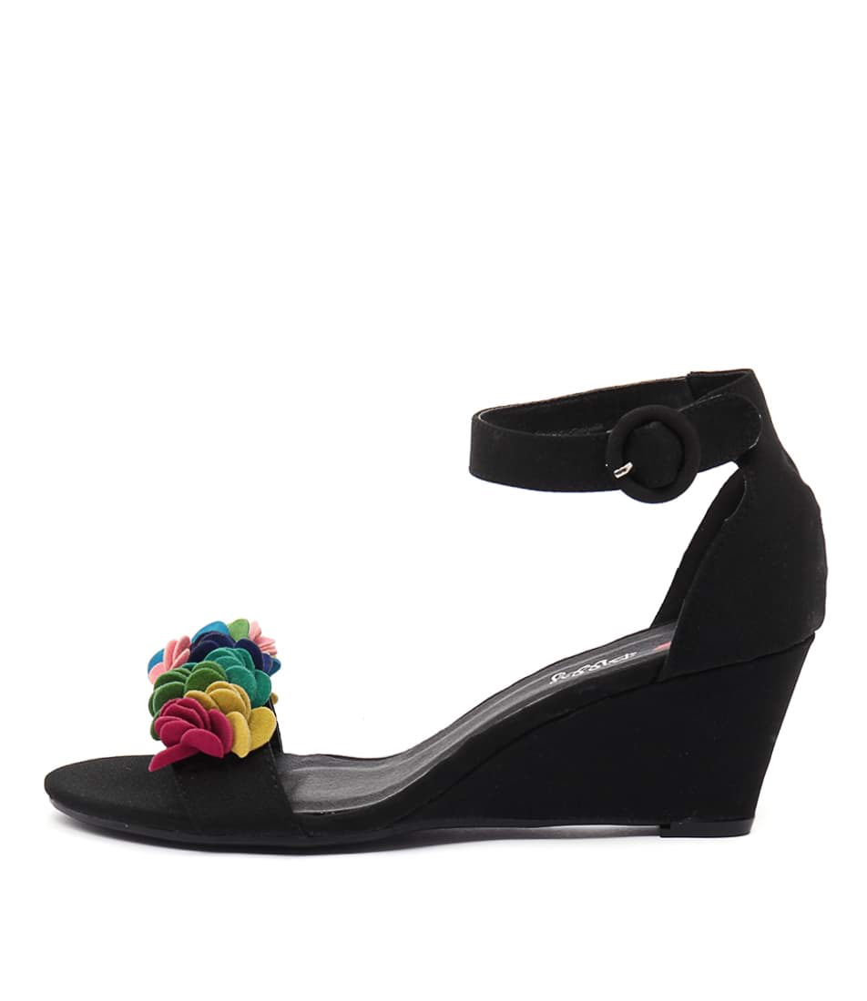 I Love Billy Bines Black Bright Multi Heeled Sandals