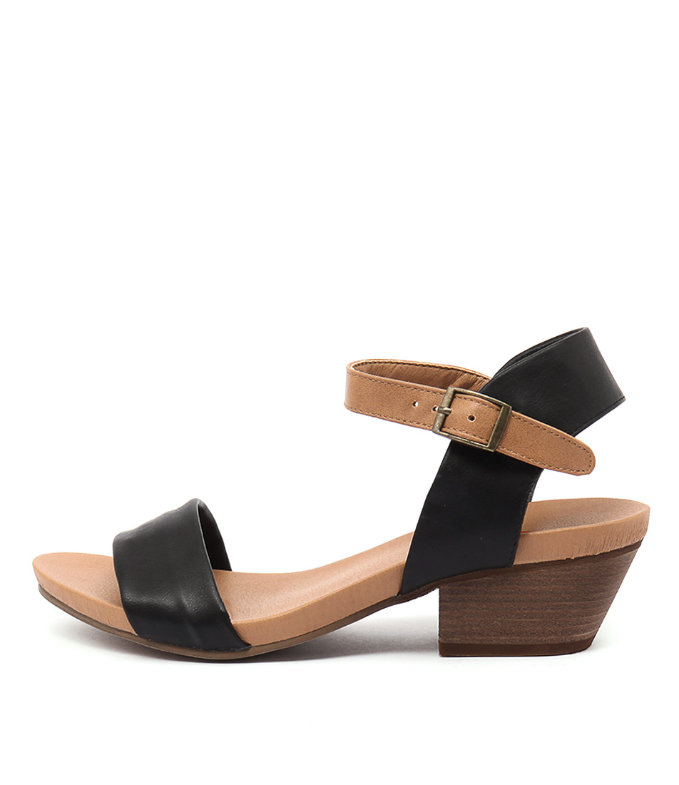 I Love Billy Contessa Black Tan Casual Heeled Sandals