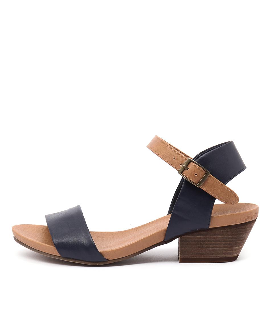 I Love Billy Contessa Navy Tan Heeled Sandals