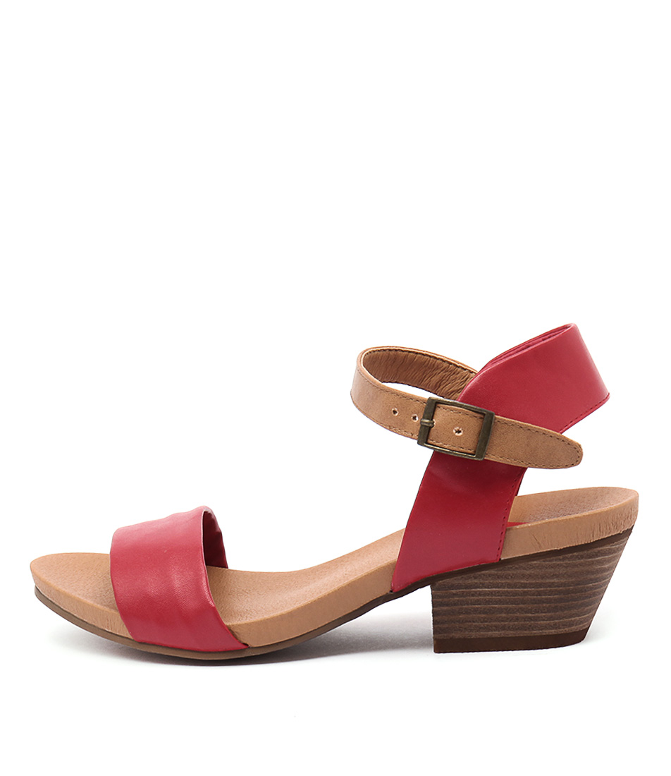 I Love Billy Contessa Red Tan Casual Heeled Sandals