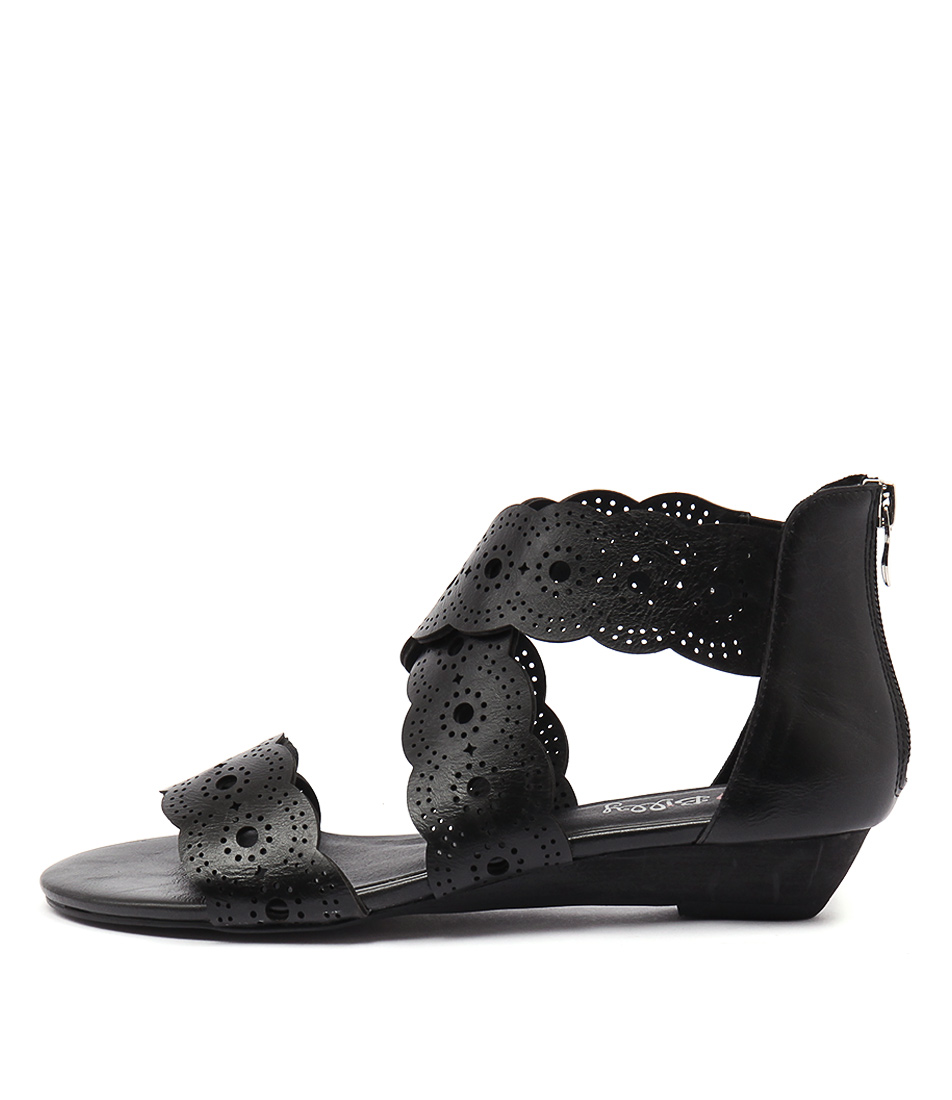 I Love Billy Motto Black Casual Flat Sandals