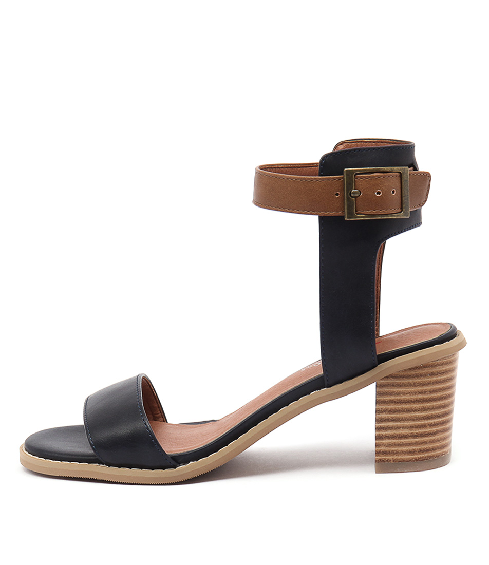 I Love Billy Quentins Navy Tan Casual Heeled Sandals