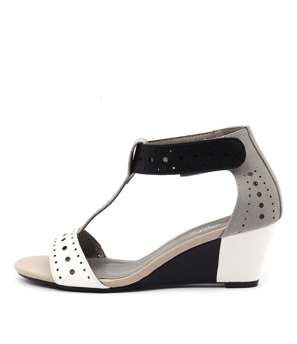 I Love Billy Blanche White & Black Multi Casual Heeled Sandals