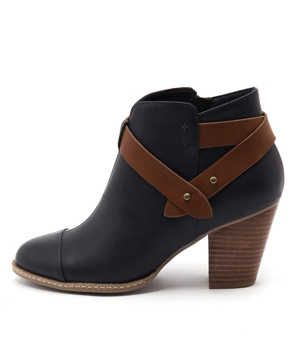 I Love Billy Charlize Navy Tan Casual Ankle Boots