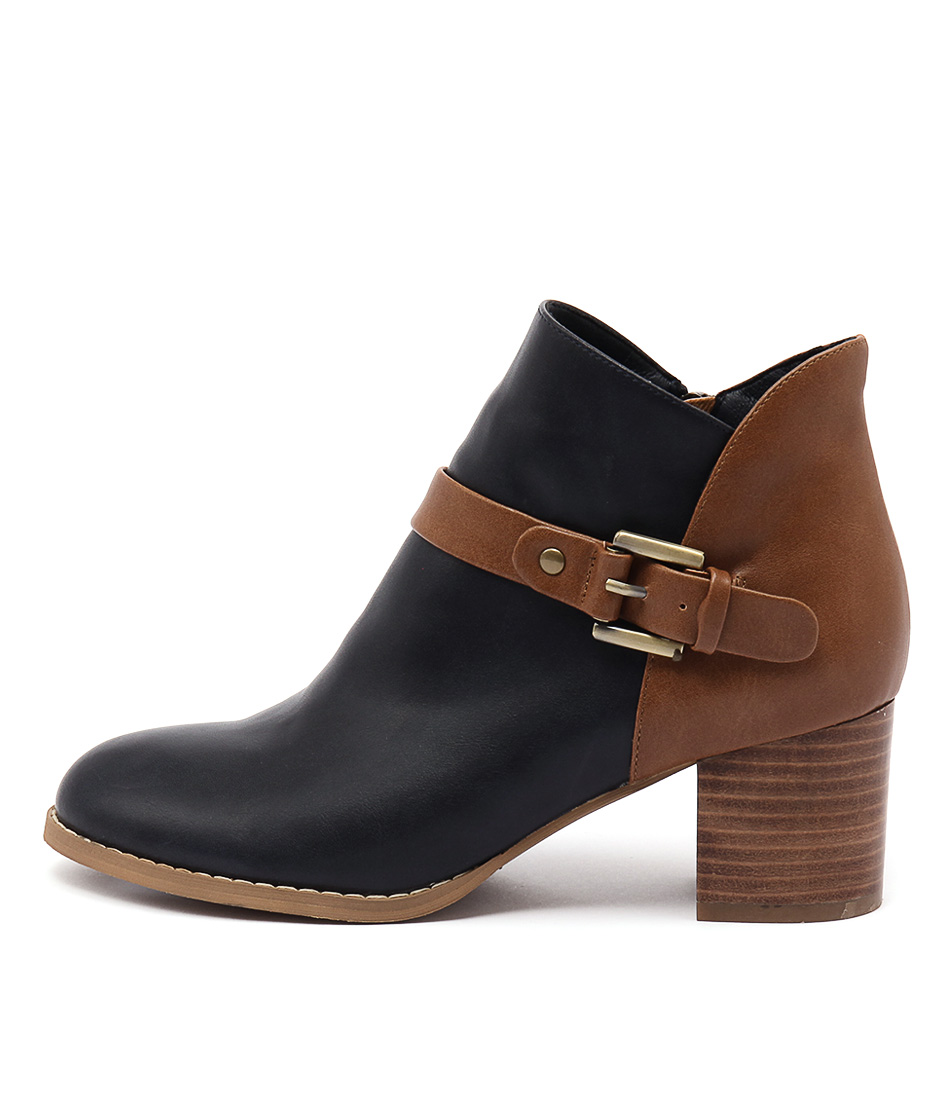 I Love Billy Jaclyn Navy Tan Ankle Boots