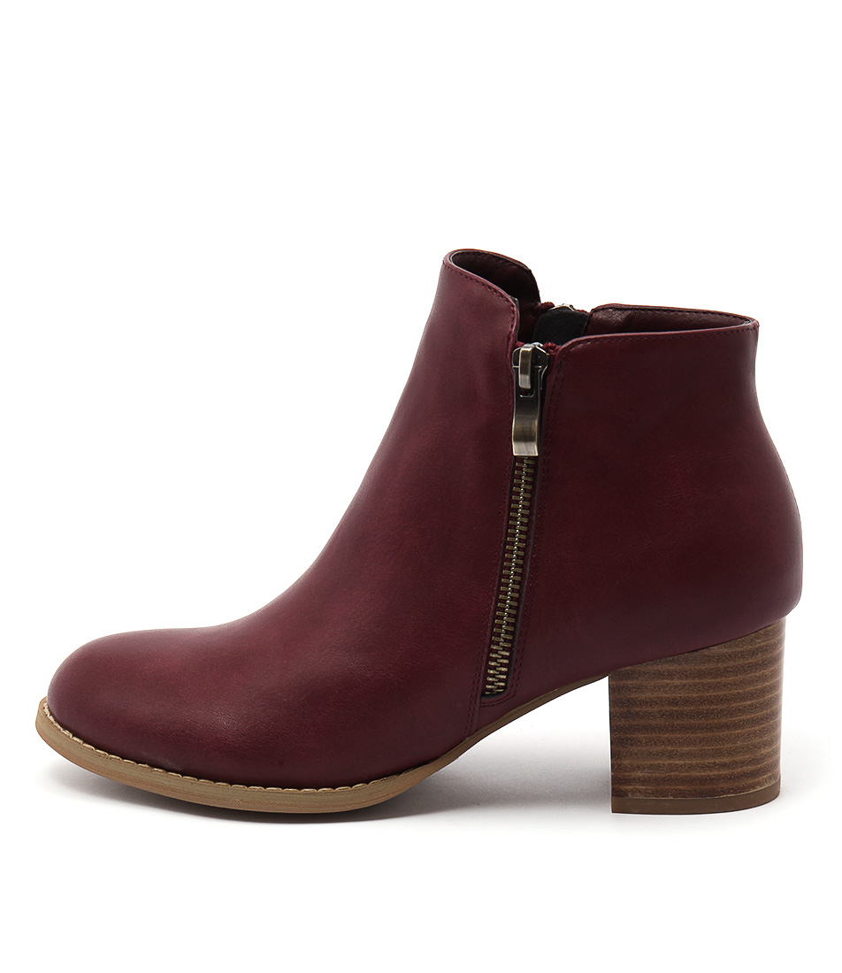I Love Billy Jalisa Dk Red Casual Ankle Boots