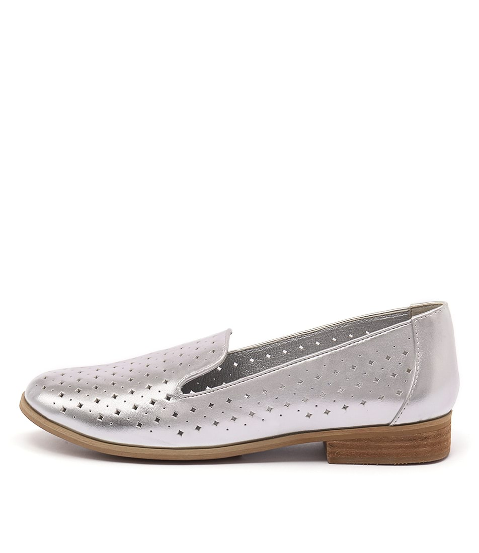 I Love Billy Quill Silver Flat Shoes