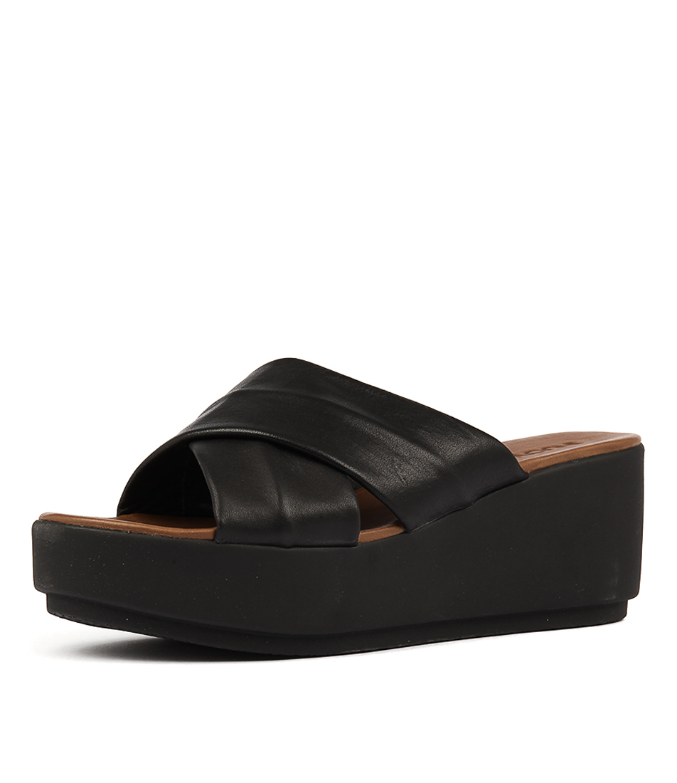 Inuovo 7111 Black Casual Heeled Sandals