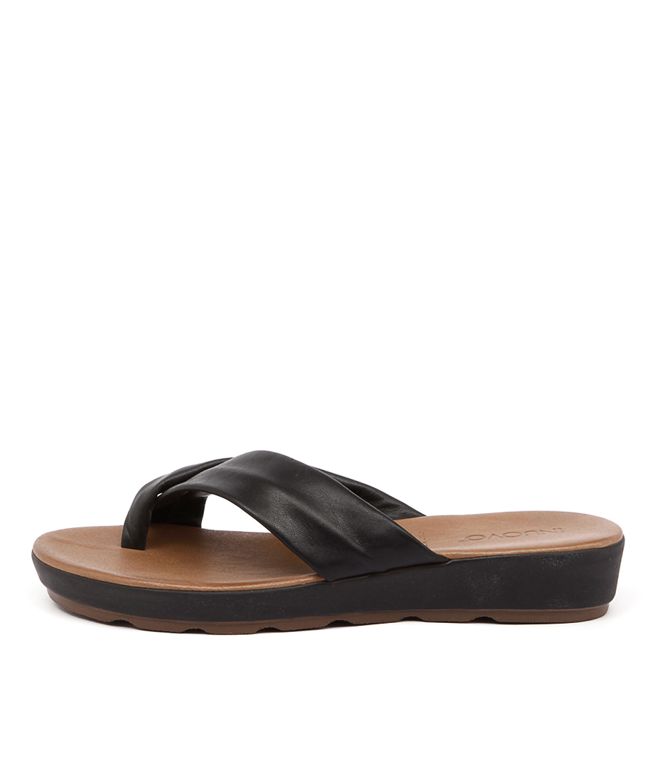 Inuovo Kelly In Black Casual Flat Sandals