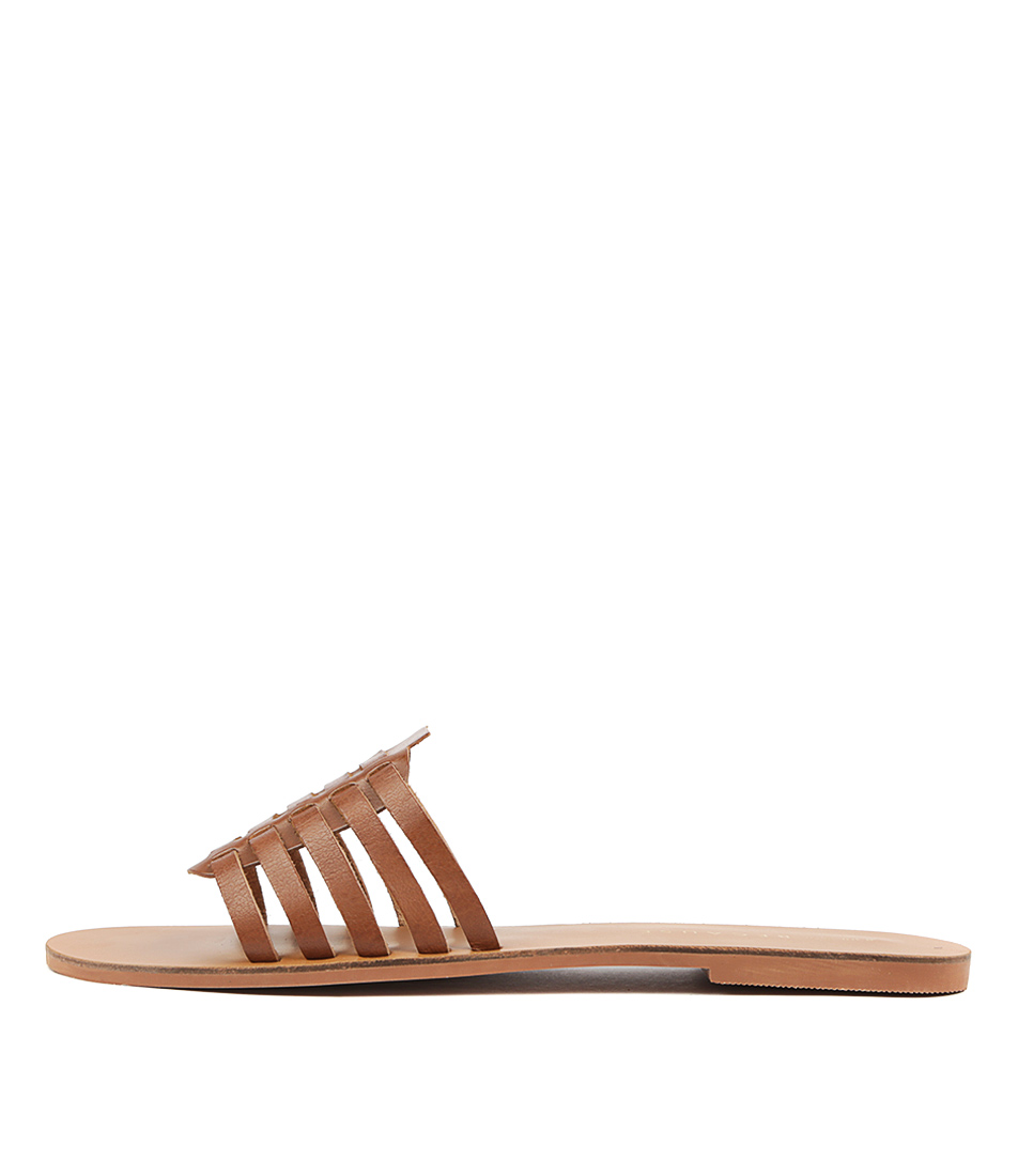 Buy Just Because Odia Tan Flat Sandals online with free shipping