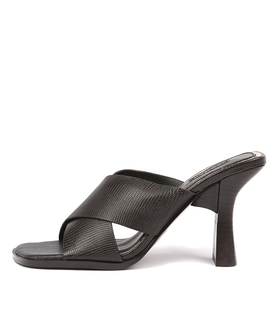 Buy Jaggar Crossed Lizard Heel Black Heeled Sandals online with free shipping