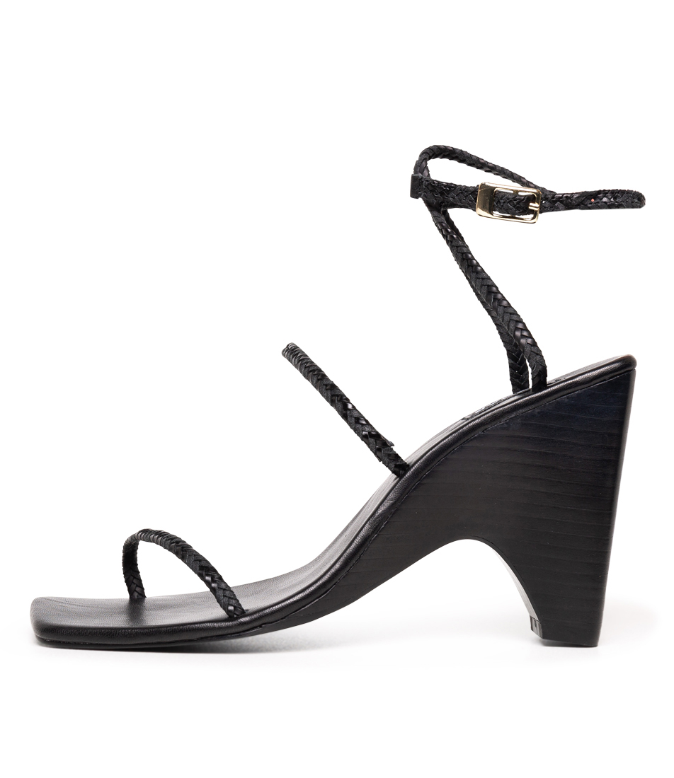 Buy Jaggar Woven Wedge Black Heeled Sandals online with free shipping