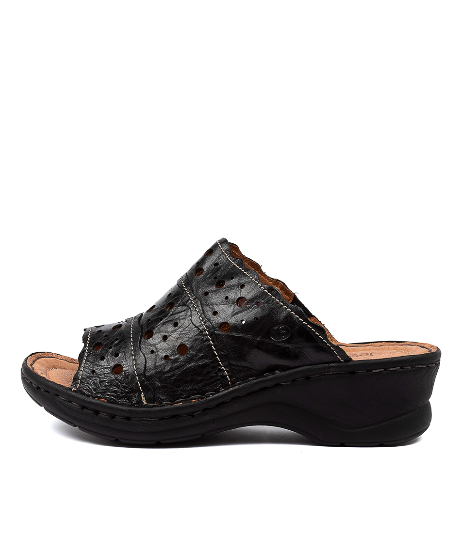 Buy Josef Seibel Catalonia 43 Js Black Flat Sandals online with free shipping