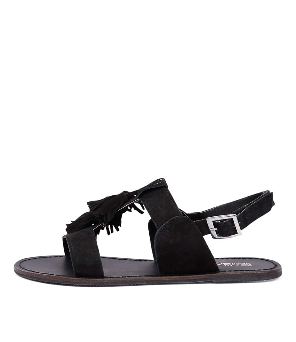 Just Because Diaz Black Casual Flat Sandals