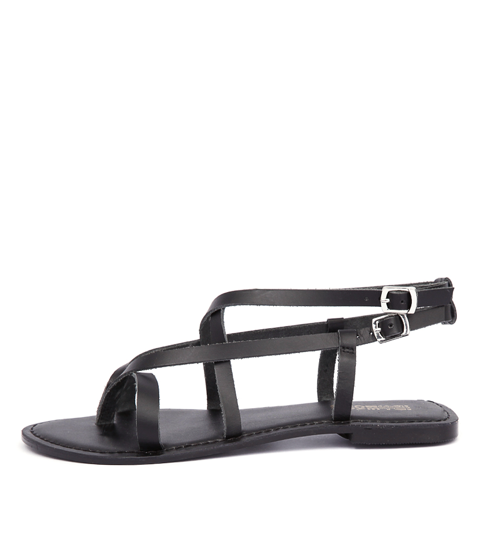 Just Because Latina Jb Black Casual Flat Sandals