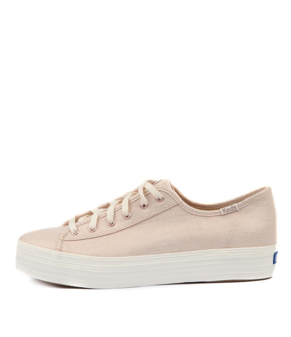 Keds Triple Kick Metallic Linen Rose Gold Sneakers