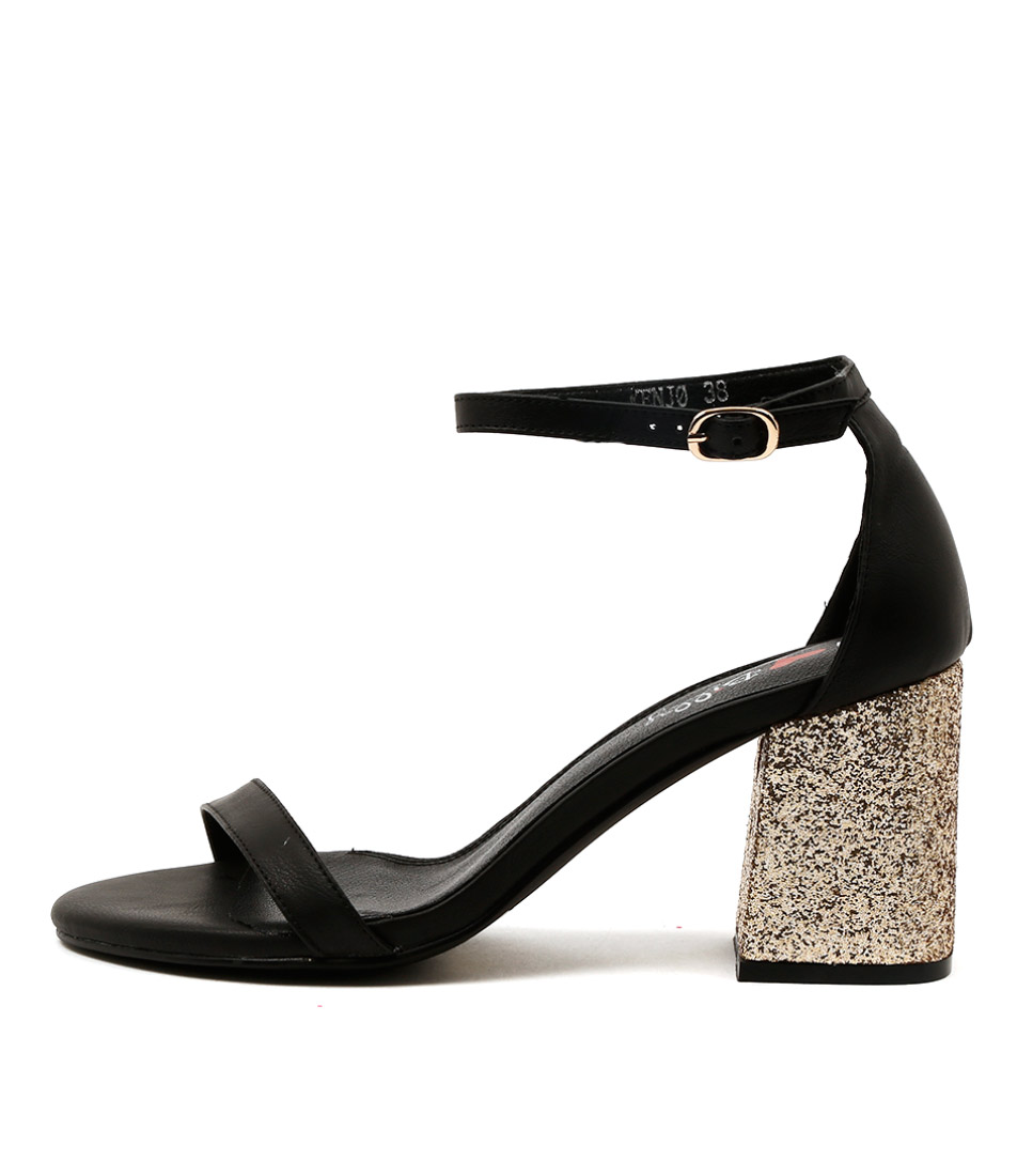 I Love Billy Kenjo Black Gold Dress Heeled Sandals