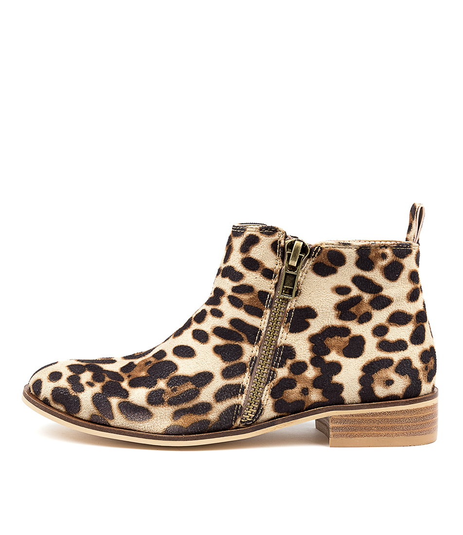 Buy Ko Fashion Banik Beige Leopard Ankle Boots online with free shipping