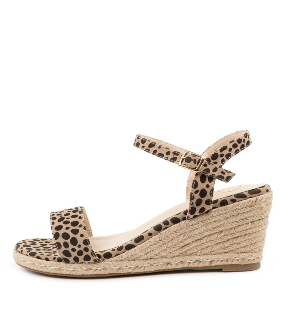 Buy Ko Fashion Amos Kf Beige Cheetah Heeled Sandals online with free shipping