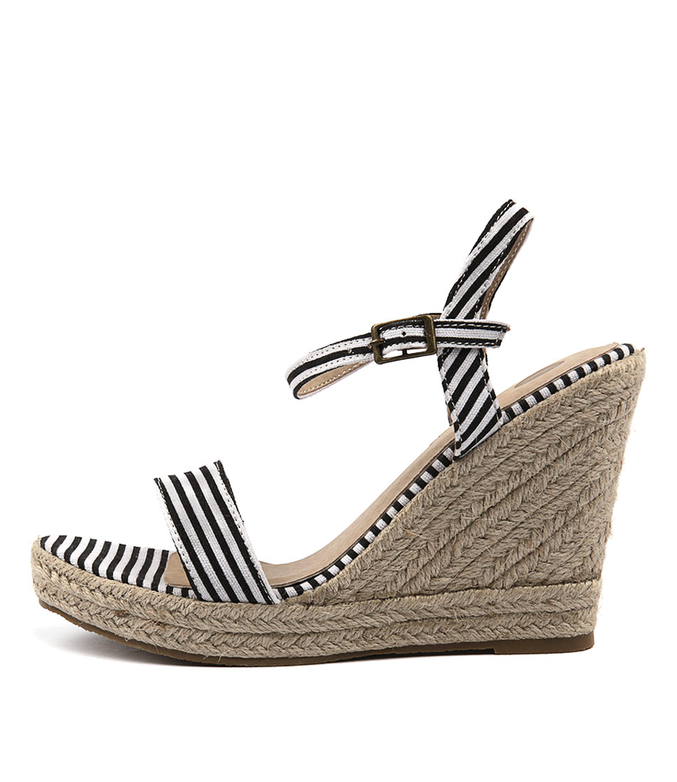Ko Fashion Penelopy Black Stripes Casual Heeled Sandals