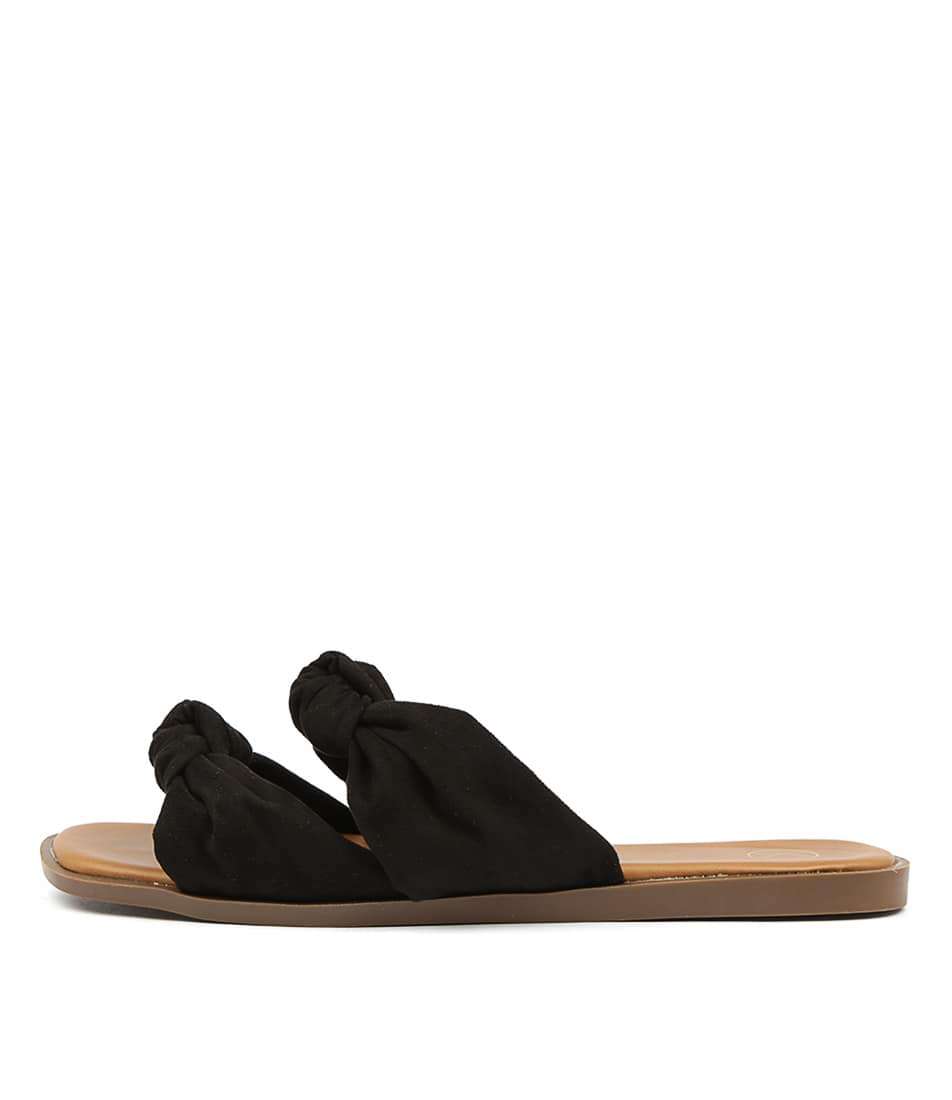 Buy Ko Fashion Edwa W Black Flat Sandals online with free shipping